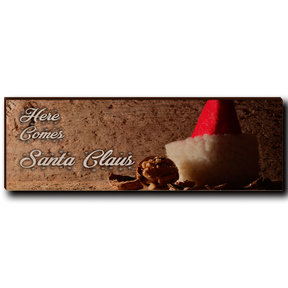 "Wall Art Here Comes Santa White  12"" x 4"""