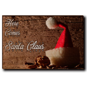 "Wall Art Here Comes Santa White  24"" x 16"""