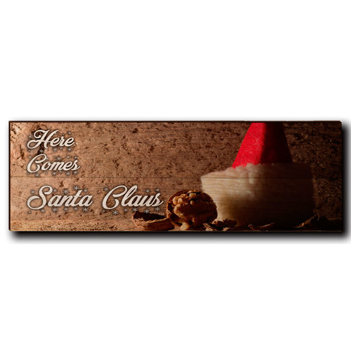 """View a Larger Image of Wall Art Here Comes Santa White  24"""" x 8"""""""