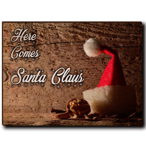 "View a Larger Image of Wall Art Here Comes Santa White  40"" x 30"""