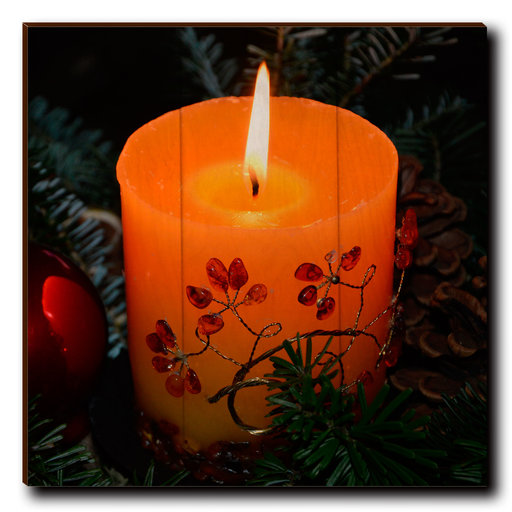 "View a Larger Image of Wall Art Holiday Candle 12"" x 12"""