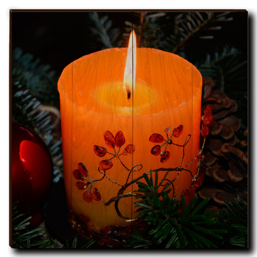 "View a Larger Image of Wall Art Holiday Candle 24"" x 24"""