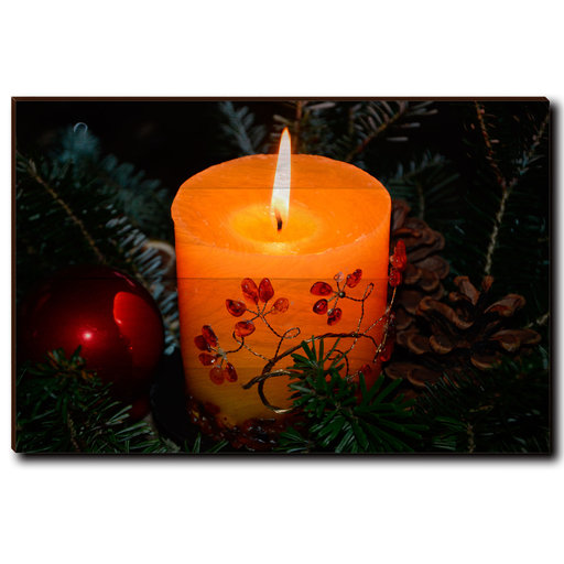"View a Larger Image of Wall Art Holiday Candle 36"" x 24"""