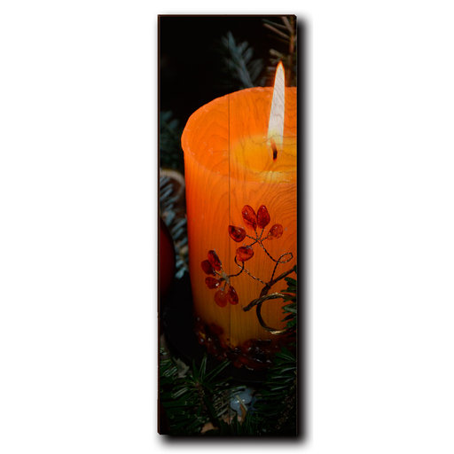 "View a Larger Image of Wall Art Holiday Candle 8"" x 24"""