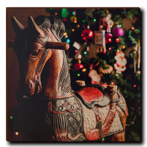 "Wall Art Holiday Rocking Horse 12"" x 12"""