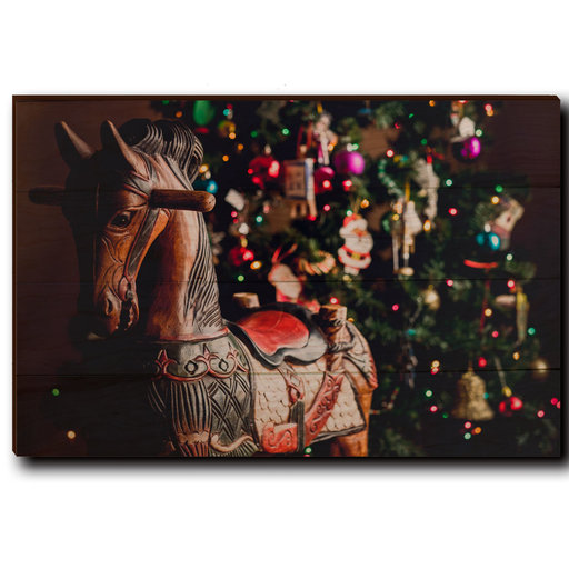 "View a Larger Image of Wall Art Holiday Rocking Horse 24"" x 16"""