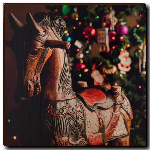 "View a Larger Image of Wall Art Holiday Rocking Horse 24"" x 24"""