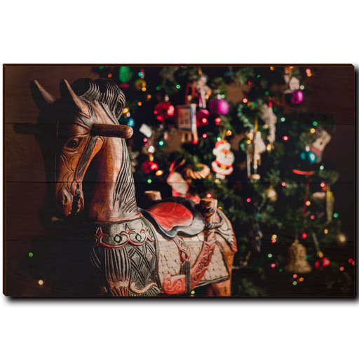 "View a Larger Image of Wall Art Holiday Rocking Horse 36"" x 24"""