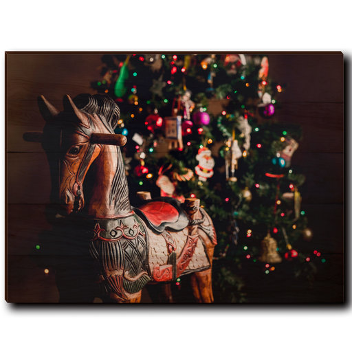 """View a Larger Image of Wall Art Holiday Rocking Horse 40"""" x 30"""""""