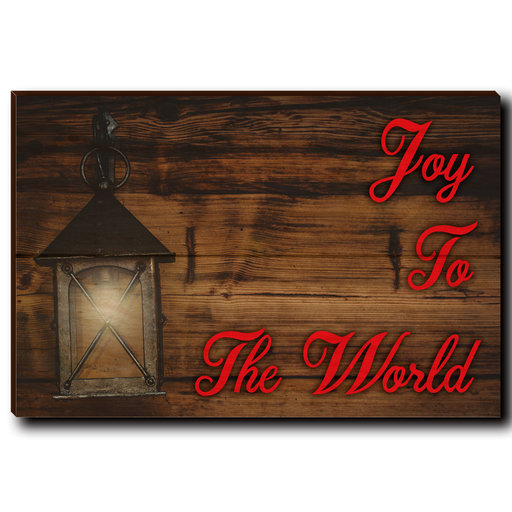 "View a Larger Image of Wall Art Joy To The World Red  12"" x 8"""