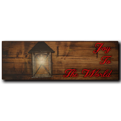 "View a Larger Image of Wall Art Joy To The World Red  24"" x 8"""