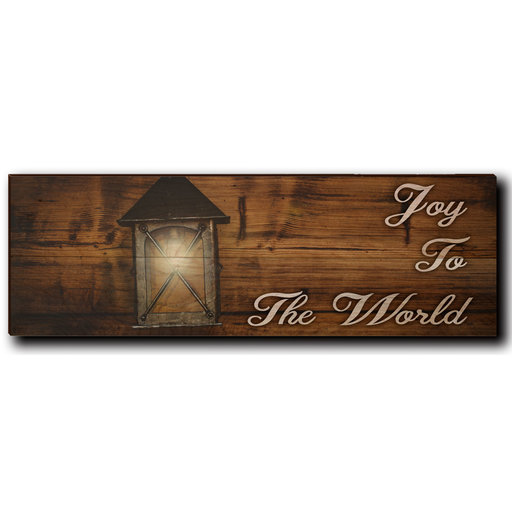 "View a Larger Image of Wall Art Joy To The World White  24"" x 8"""