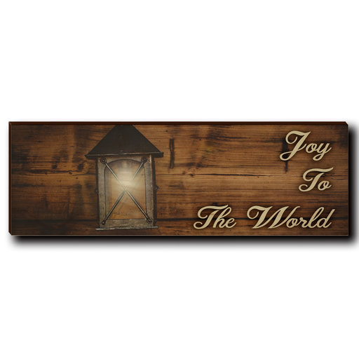 "View a Larger Image of Wall Art Joy To The World Yellow  12"" x 4"""