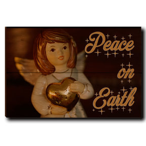 "Wall Art Peace On Earth Angel 12"" x 8"" Cursive"
