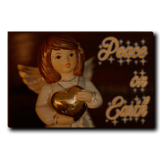 """View a Larger Image of Wall Art Peace On Earth Angel 24"""" x 16"""" Cursive"""