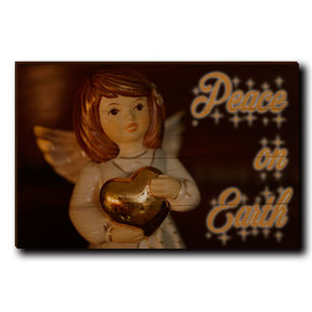 "Wall Art Peace On Earth Angel 24"" x 16"" Cursive"