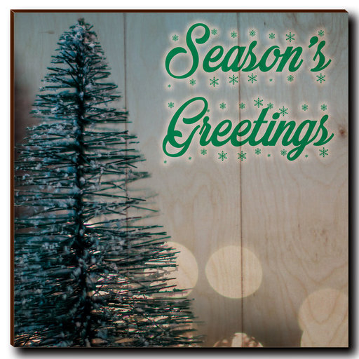 "View a Larger Image of Wall Art Season's Greetings Tree 12"" x 12"" Cursive"
