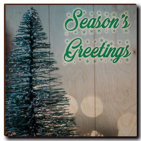 "Wall Art Season's Greetings Tree 12"" x 12"" Cursive"