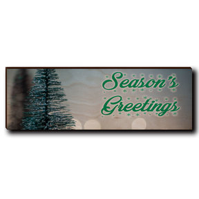"Wall Art Season's Greetings Tree 12"" x 4"" Cursive"