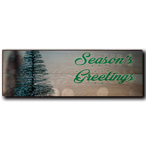 "Wall Art Season's Greetings Tree 24"" x 8"" Cursive"
