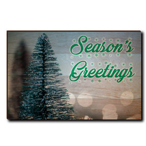 "Wall Art Season's Greetings Tree 36"" x 24"" Cursive"