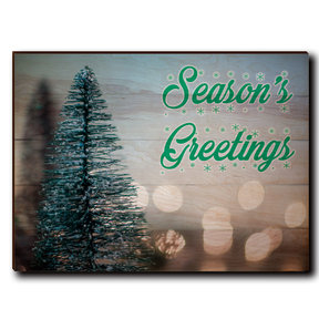 "Wall Art Season's Greetings Tree 40"" x 30"" Cursive"