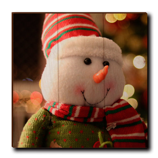 """View a Larger Image of Wall Art Snowman Smile 12"""" x 12"""""""