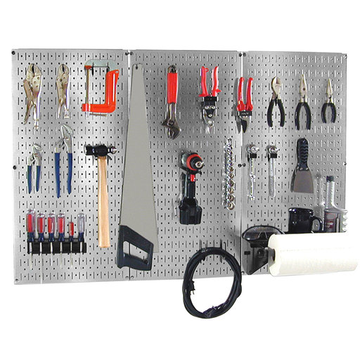 View a Larger Image of 4 ft Metal Pegboard Basic Tool Organizer Kit with Galvanized Toolboard and Black Accessories
