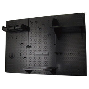 Wall Control 4' Metal Pegboard Standard Tool Storage Kit - Black Toolboard & Black Accessories