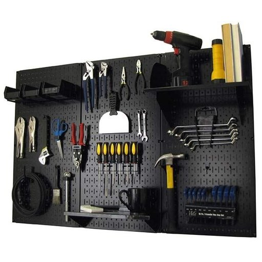 View a Larger Image of 4' Metal Pegboard Standard Tool Storage Kit - Black Toolboard & Black Accessories