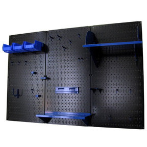 Wall Control 4' Metal Pegboard Standard Tool Storage Kit - Black Toolboard & Blue Accessories