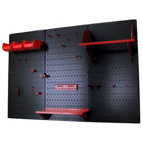 Wall Control 4' Metal Pegboard Standard Tool Storage Kit - Black Toolboard & Red Accessories