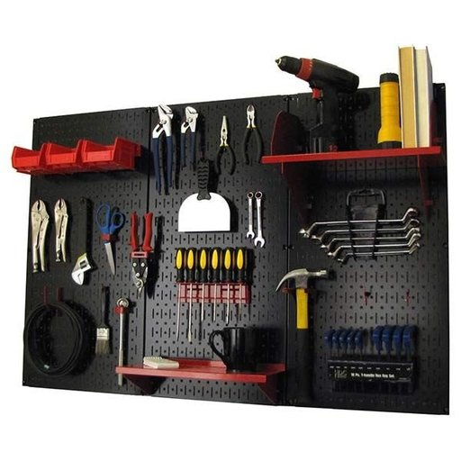 View a Larger Image of 4' Metal Pegboard Standard Tool Storage Kit - Black Toolboard & Red Accessories