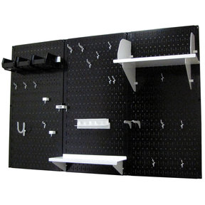 Wall Control 4' Metal Pegboard Standard Tool Storage Kit - Black Toolboard & White Accessories