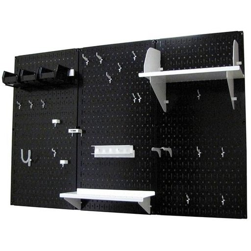 View a Larger Image of 4' Metal Pegboard Standard Tool Storage Kit - Black Toolboard & White Accessories