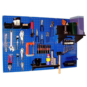 Wall Control 4' Metal Pegboard Standard Tool Storage Kit - Blue Toolboard & Black Accessories