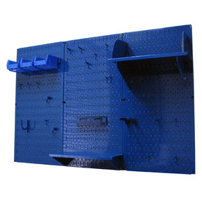 Wall Control 4' Metal Pegboard Standard Tool Storage Kit - Blue Toolboard & Blue Accessories