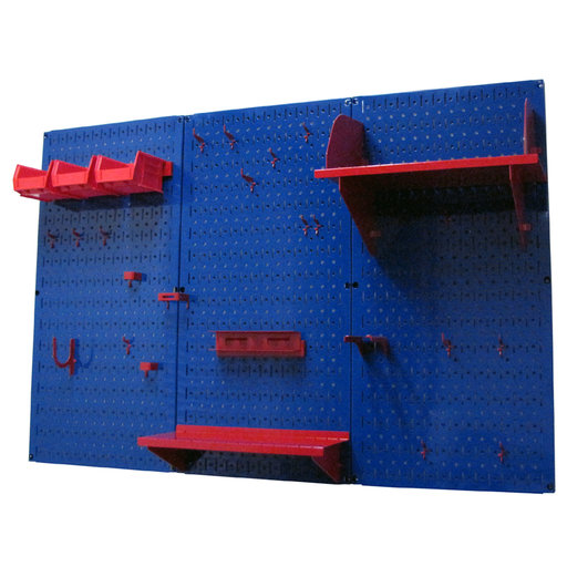 View a Larger Image of 4' Metal Pegboard Standard Tool Storage Kit - Blue Toolboard & Red Accessories