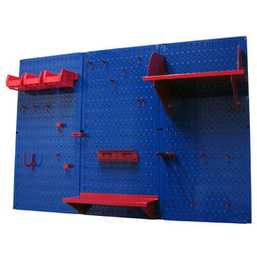 Wall Control 4' Metal Pegboard Standard Tool Storage Kit - Blue Toolboard & Red Accessories