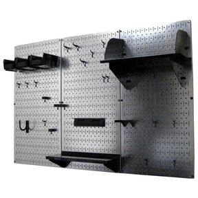 Wall Control 4' Metal Pegboard Standard Tool Storage Kit - Galvanized Metallic Toolboard & Black Accessories