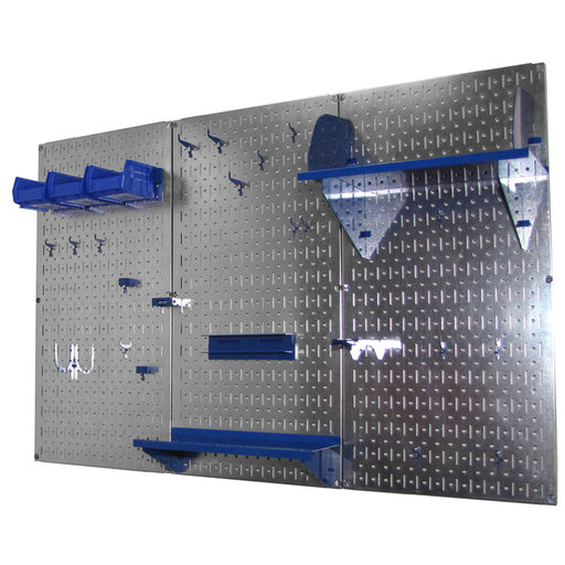View a Larger Image of 4' Metal Pegboard Standard Tool Storage Kit - Galvanized Metallic Toolboard & Blue Accessories