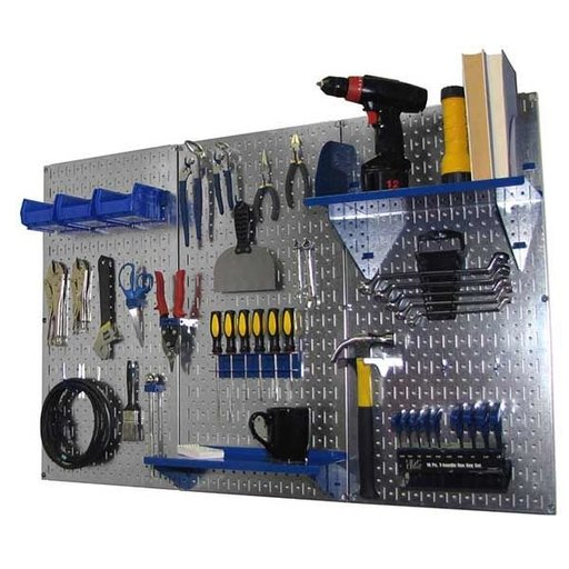 View a Larger Image of Wall Control 4' Metal Pegboard Standard Tool Storage Kit - Galvanized Metallic Toolboard & Blue Accessories
