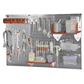 Wall Control 4' Metal Pegboard Standard Tool Storage Kit - Galvanized Metallic Toolboard & Red Accessories
