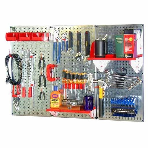 View a Larger Image of Wall Control 4' Metal Pegboard Standard Tool Storage Kit - Galvanized Metallic Toolboard & Red Accessories