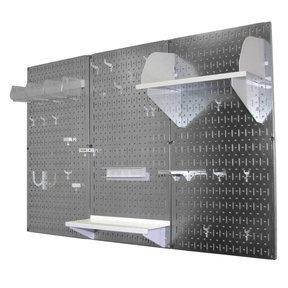 Wall Control 4' Metal Pegboard Standard Tool Storage Kit - Galvanized Metallic Toolboard & White Accessories