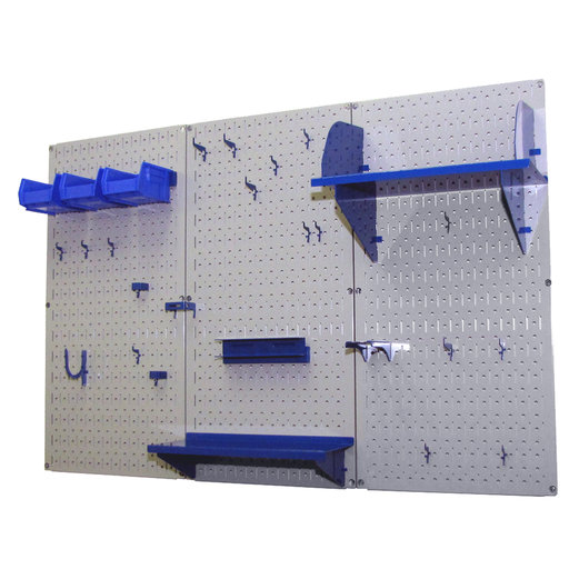 View a Larger Image of 4' Metal Pegboard Standard Tool Storage Kit - Gray Toolboard & Blue Accessories