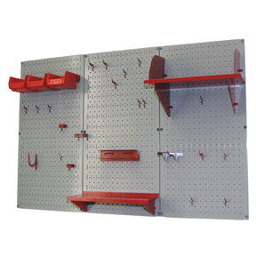 4' Metal Pegboard Standard Tool Storage Kit - Gray Toolboard & Red Accessories
