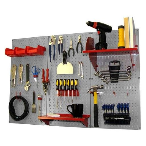 View a Larger Image of 4' Metal Pegboard Standard Tool Storage Kit - Gray Toolboard & Red Accessories
