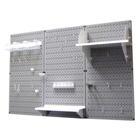 Wall Control 4' Metal Pegboard Standard Tool Storage Kit - Gray Toolboard & White Accessories