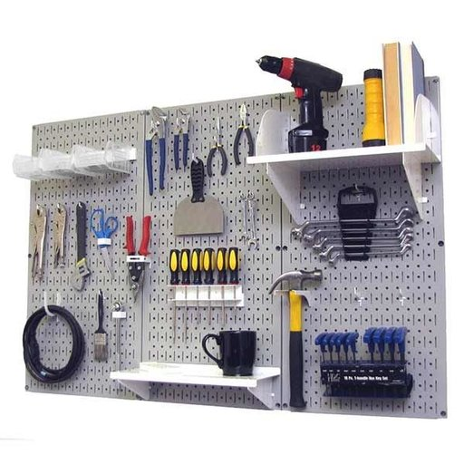View a Larger Image of Wall Control 4' Metal Pegboard Standard Tool Storage Kit - Gray Toolboard & White Accessories